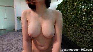 Busty Redhead creampie in casting couch POV