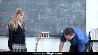 Redhead school girl tricked into fuck