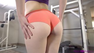 Redhead Ember Stone workout fuck in gym