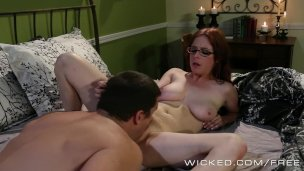 Redhead Penny Pax Sexy wife in eye glasses